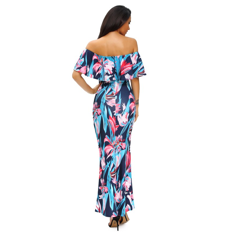 Zkess Tropical Print Dress Women Long Party Dresses 2017 Elegant Bohemia Dress Maxi Mermaid Gown Vestido de festa LC61189 8