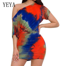 YEYA Printed Tie-dyed Oblique Shoulder Casual Two Pieces Sets Mini Dress  New Fashion Bodycon Rainbow Short Sleeve Retro