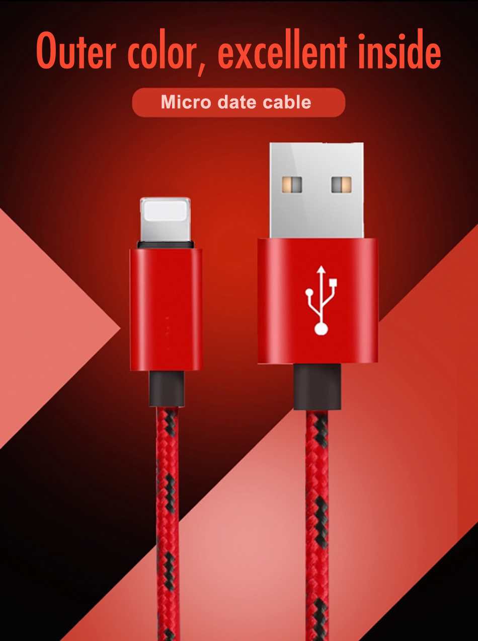 !ACCEZZ Nylon USB Charging Cable For Apple iPhone XR XS MAX 8 7 6S Plus Fast Charging Sync Data Cable For iPad Phone Charge Line (10)