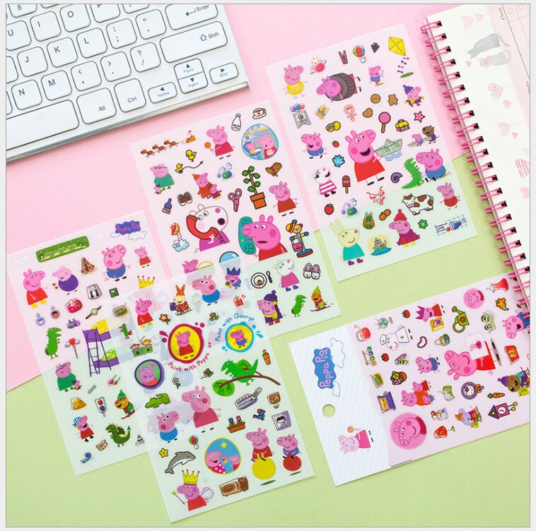 6 Pages/pack Funny Peppa Pig Animal friend decoration sticker DIY planner diary scrapbooking album sticker escolar
