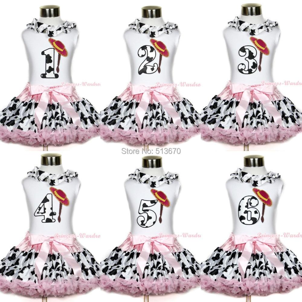 все цены на White Top Milk Cow Lacing Cowgirl Braid Hat Birthday Pink Milk Cow Skirt 1-8Year MAPSA0412 онлайн