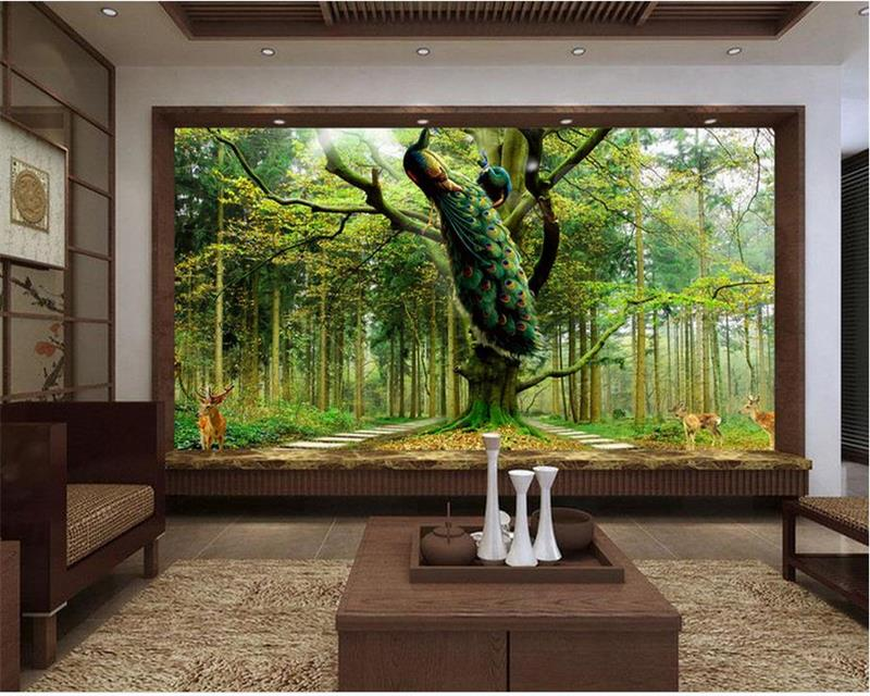 custom 3d photo wallpaper room mural Peacock tree deer forest 3d photo painting TV background non-woven wallpaper for wall 3d