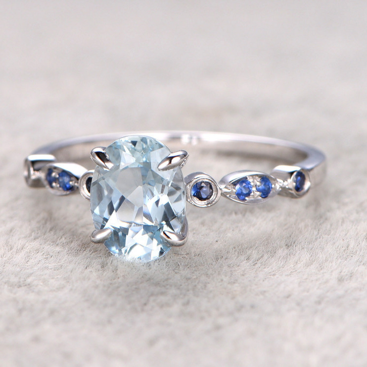 get cheap white gold aquamarine ring aliexpress