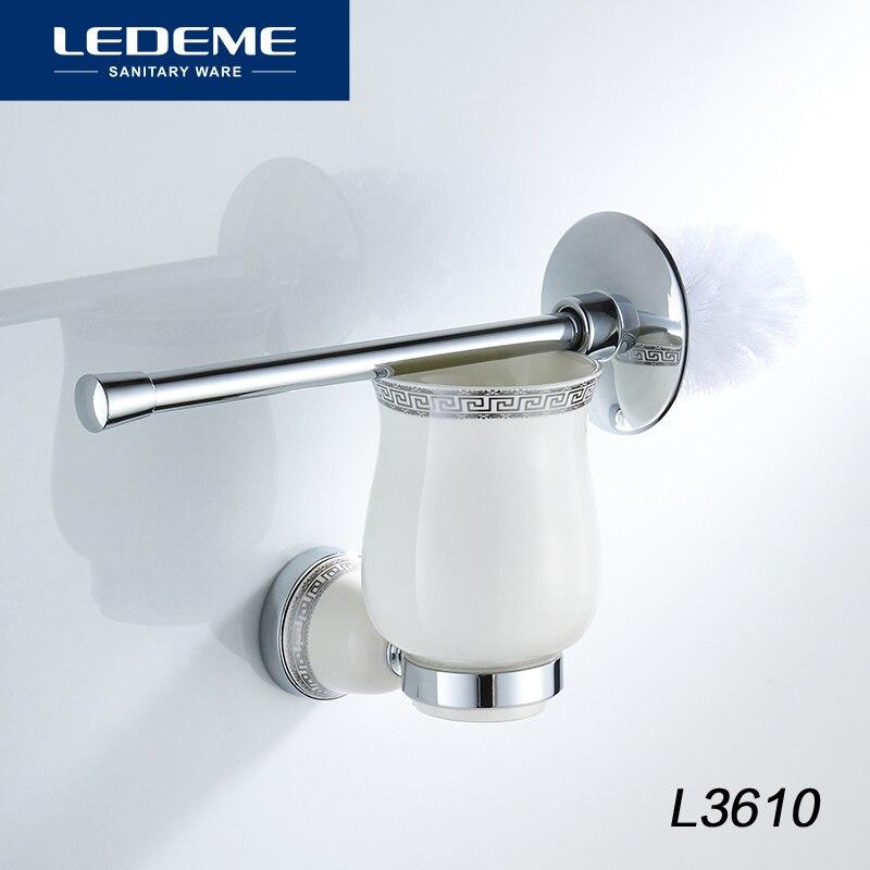 LEDEME Toilet Brush Holders Chrome Base Round Wall Mounted Ceramic Cup Toilet Brush Holder Aluminum Bathroom Accessories L3610