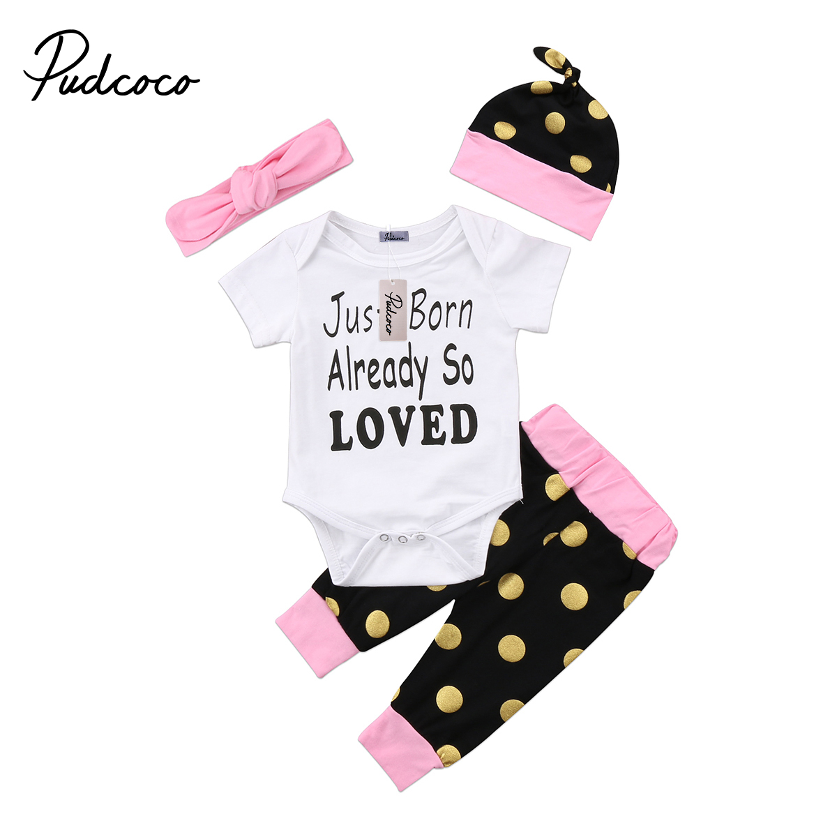 Pudcoco 2PCS Cute Newborn Baby Boy Girl Cotton Short Sleeve O-Neck Bodysuit Pant Hat Headband Outfit Set 0-18Months Helen115