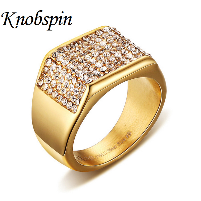 New Arrival Men Stainless Steel Ring AAA CZ  jewelry High quality Gold color Never fade bague homme Size 7 8 9 10 11 12