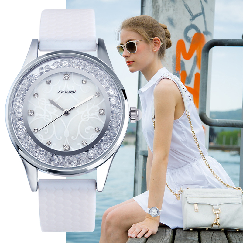 Prix pour SINOBI De Mode Diamant Femmes Montres Silicone Bracelet Dames Genève Quartz Horloge Femme Montre-Bracelet Montres Femmes 2017