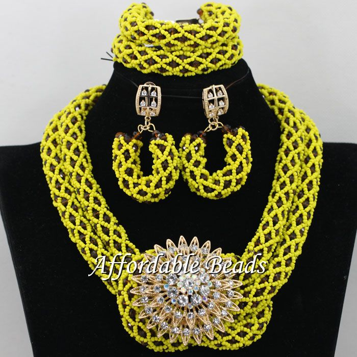 Shining African Beads Hot Sale Nigerian Bridal Jewelry Set Latest ...
