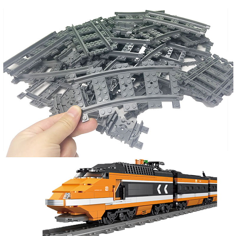 Flexible Track Compatible LegoINGlys City Trains Technic Rail Straight Curved Rails Building Blocks Set For Kids  Bricks