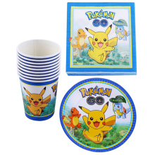 Baby Shower Kids Favors Decorate Cups Plates Pokemon Go/Pikachu Theme Paper Napkins Happy Birthday Events Party Dishes 60pcs/lot