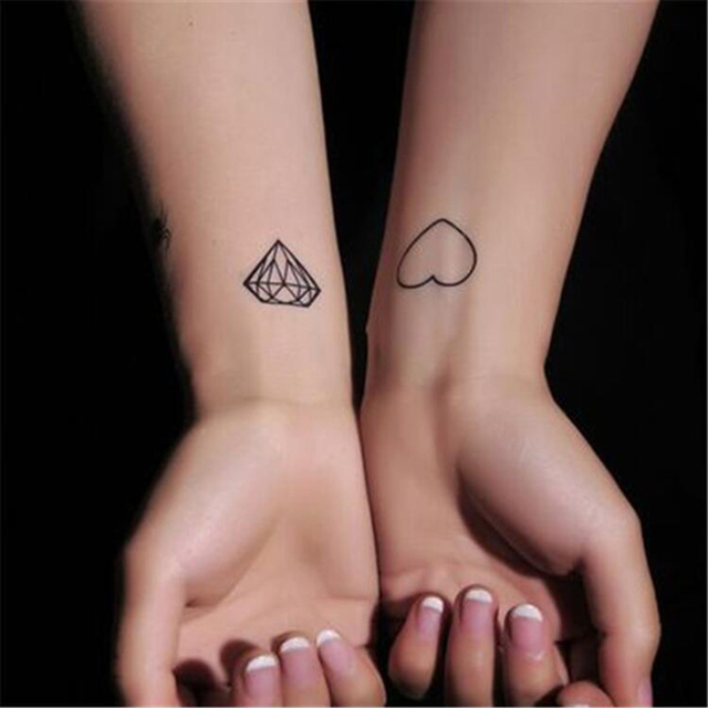 Oryginalny Finger Diament I Serca Tatuaż Naklejki Piękny I