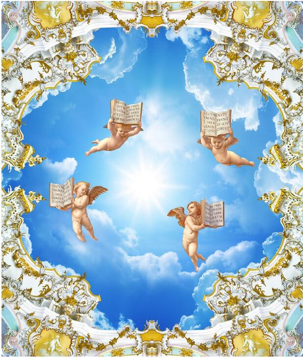 3d ceiling murals wallpaper custom photo non-woven Angel bible of Europe style painting 3d wall mural wallpaper for living room ceiling non woven wallpapr home decoration wallpapers for living room 3d mural wallpaper ceiling customize size