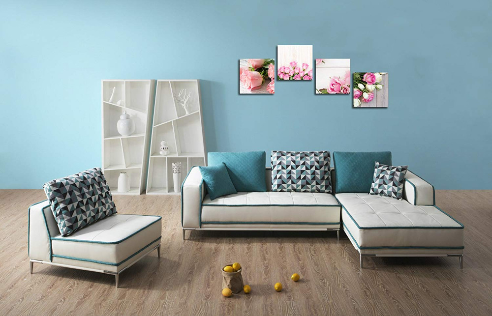 4 Piece Canvas Print Wall Art Painting For Home Decor Floral Still Life Of Pink Rose Flower in the Table Picture Drop Shipping4 Piece Canvas Print Wall Art Painting For Home Decor Floral Still Life Of Pink Rose Flower in the Table Picture Drop Shipping