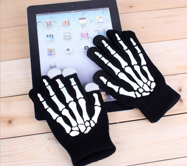 US $4 8 |women's men's Fashion skeleton hand knitted gloves/offset printing  ghost touch magic claw touch screen warm gloves-in Men's Gloves from