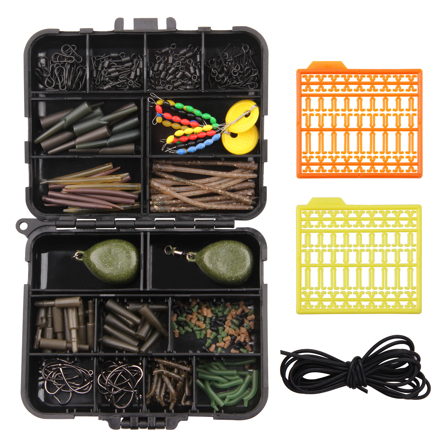 217pcs/box Carp Fishing Tackle Box Rigs Safety Clips Anti Tangle Sleeves Hooks Swivel For Carp Fishing Connector Accessories