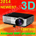 Newest! 4500lumens Full HD LED Multimedia Projector built in android 4.2 contrast 4000:1 With 2HDMI+2USB, Home Theater projector