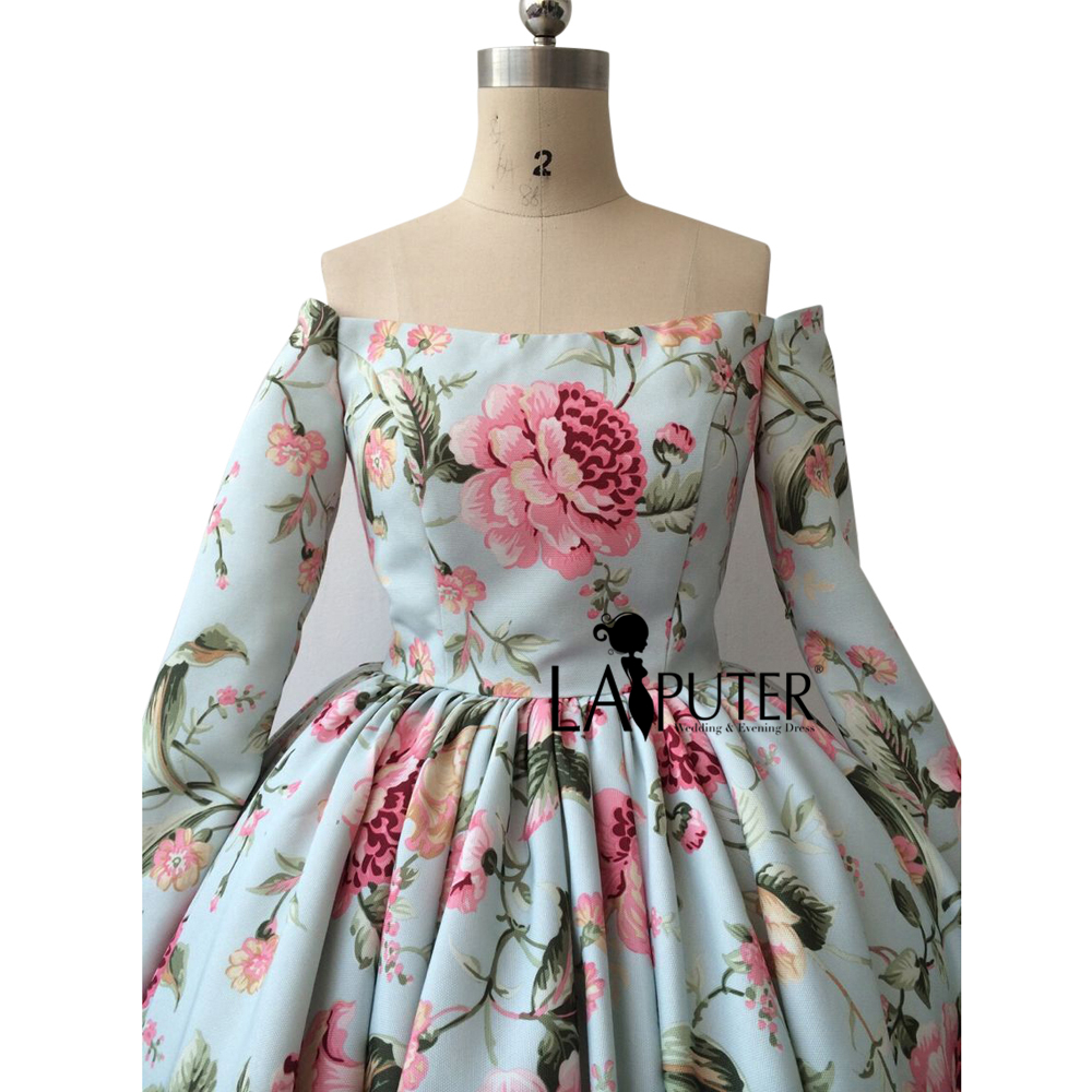 Arabic Vintage Printed Rose Flowers Ball Gown Hi Low Puffy Long ...