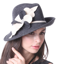 Free Shipping Women Hats Felt Wool Hats Winter 100% Wool Floppy Brim Hats Flower Stylish Fedora