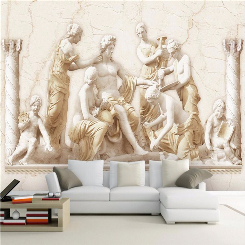 Custom photo wall paper roman relief european classical for 3d art wallpaper for walls