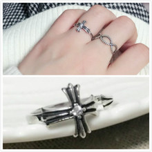 The Knight's Cross Set Auger 925 Sterling Silver Rings Open Ring for Man Women TE00042