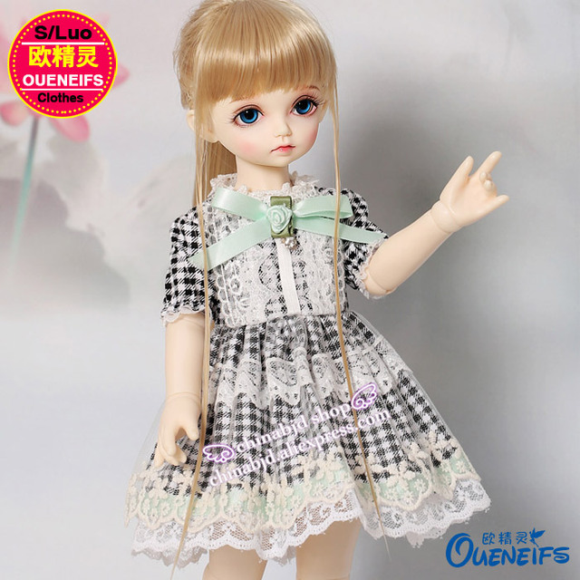 BJD Clothes 1/4 Black and White Plaid Dress lesbian Skirt For the Rosenlied  Miu