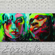 Palette knife portrait Face Oil painting Character figure canva Hand painted Francoise Nielly wall Art picture for living room82