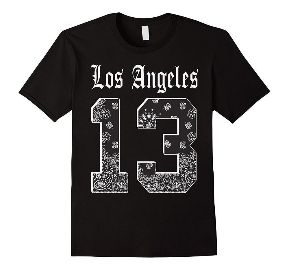 Funny Design New Style Mens Los angeles 13 T shirt LA Bandana Print Jersey T Crew Neck S ...