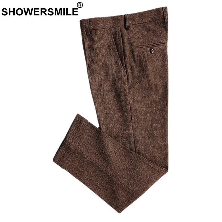 SHOWERSMILE Classic Men's Pants Tweed Mens Wool Trousers Brown Woolen Thick Warm Suit Pant For Winter Slim Herringbone Man Pants