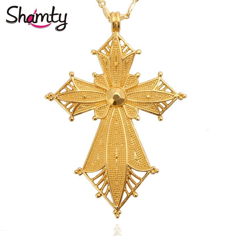 Shamty Habesha stílusú etióp medál nyaklánc nincs kő tiszta arany színű Afrikai Nigéria Szudán Eritrea Kenya eretreai ékszerek
