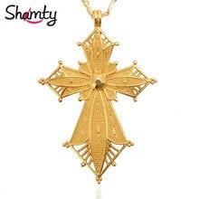 Shamty Habesha Style Ethiopian Pendant Necklace No Stone Pure Gold Color African Nigeria Sudan Eritrea Kenya Eretrean Jwelery