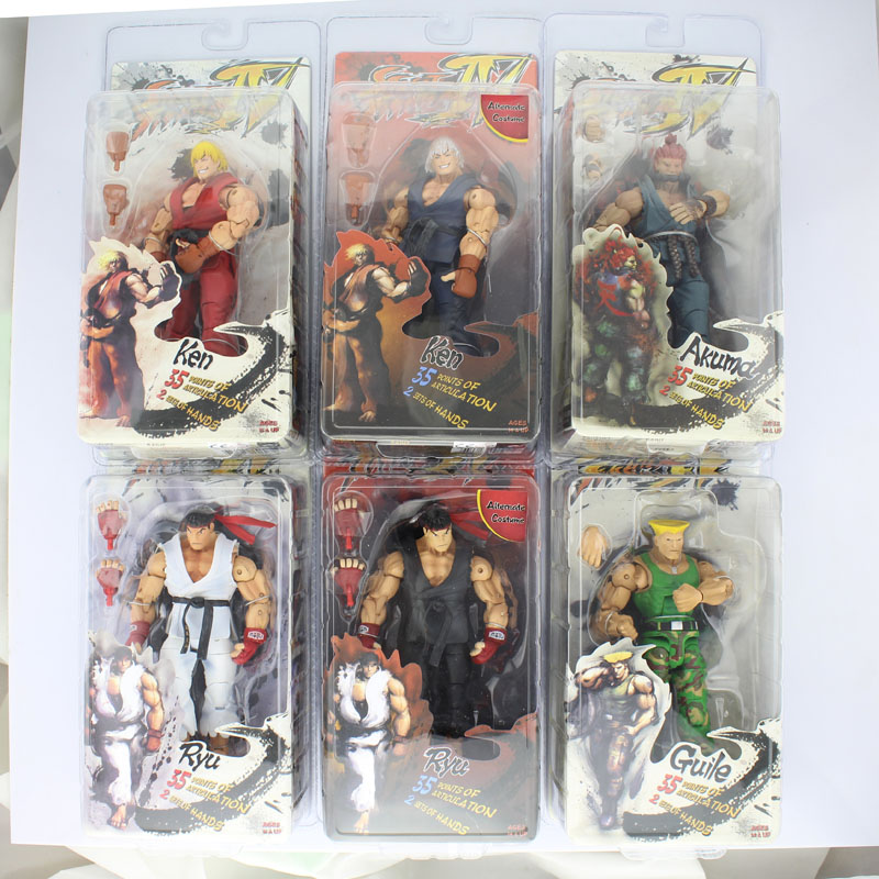 Free Shipping 7 NECA Street Fighter IV Survival Game Ken Ryu Guile Akuma Boxed PVC Action Figure Anime Model Doll Toys Gift saintgi street fighter v ken bigboystoys with light action figure game toys pvc 16cm model kids toys collection