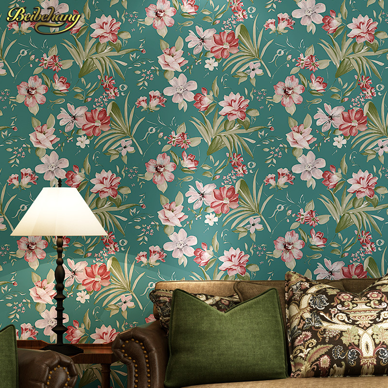 beibehang papel de parede Large blue-green countryside east pattern retro flower  living room bedroom wallpaper backdrop large mural papel de parede european nostalgia abstract flower and bird wallpaper living room sofa tv wall bedroom 3d wallpaper