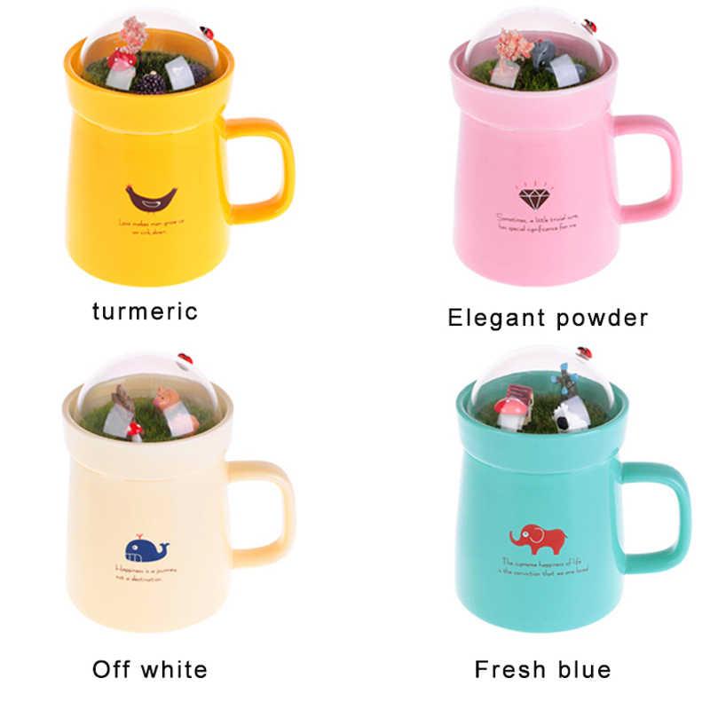 Keramik Kreatif Mug Kartun Hewan Mikro Lanskap Caneca Susu Cokelat Kehitaman Teh Mug 400mlHigh-capacity Kantor Cangkir Hadiah Kecantikan