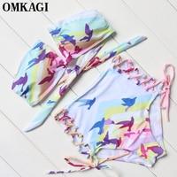 OMKAGI Print Women Strapless Bikinis 2017 Summer Bandage High Waist Bikinis Set Push Up Padded Beach