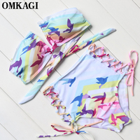 OMKAGI Print Women Strapless Bikinis 2017 Summer Bandage High Waist Bikinis Set Push Up Padded Beach