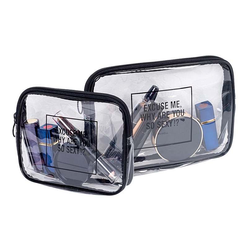 Women Simple Portable PVC Transparent Cosmetic Bag Travel Toiletry Storage Oganizer Accessories Items Supplies Gear ...