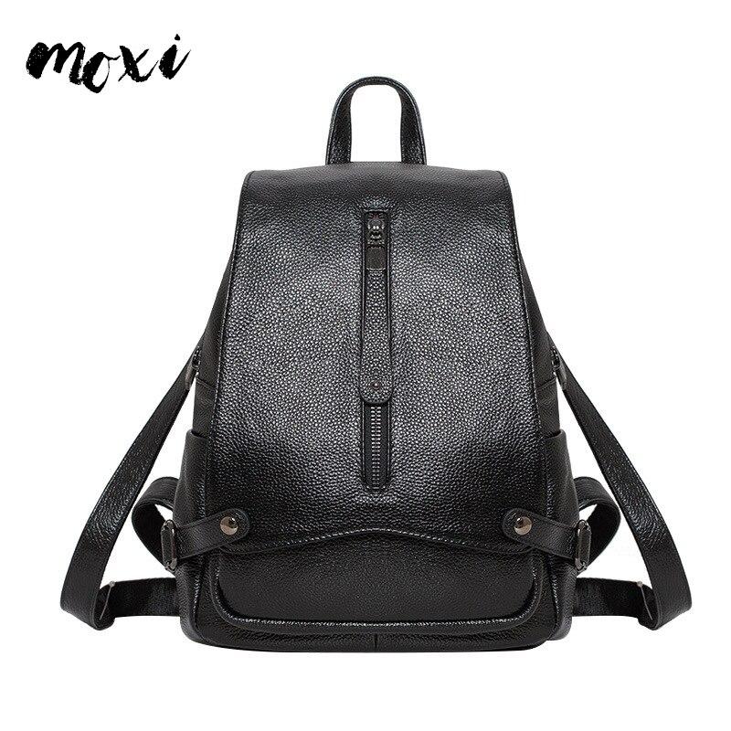 Mochila De mujer MOXI mochilas escolares de cuero genuino para niñas adolescentes bolso de hombro de piel de vaca de gran capacidad bolsos de viaje de señora-in Mochilas from Maletas y bolsas    1