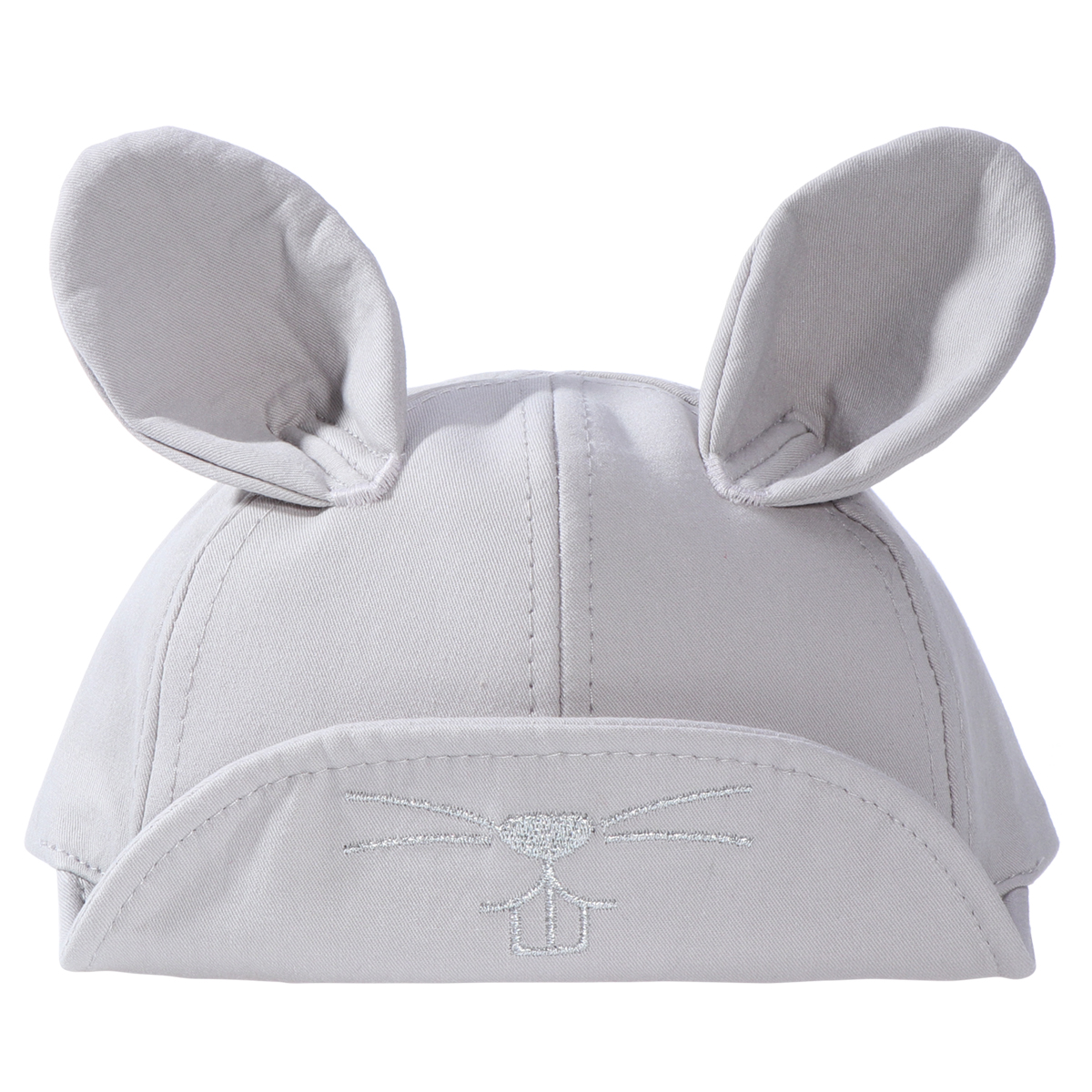 Cap Cute Lovely Childrens Hat with Rabbit Ear Baffi Pattern Embroidered Peaked Cap (Gray)