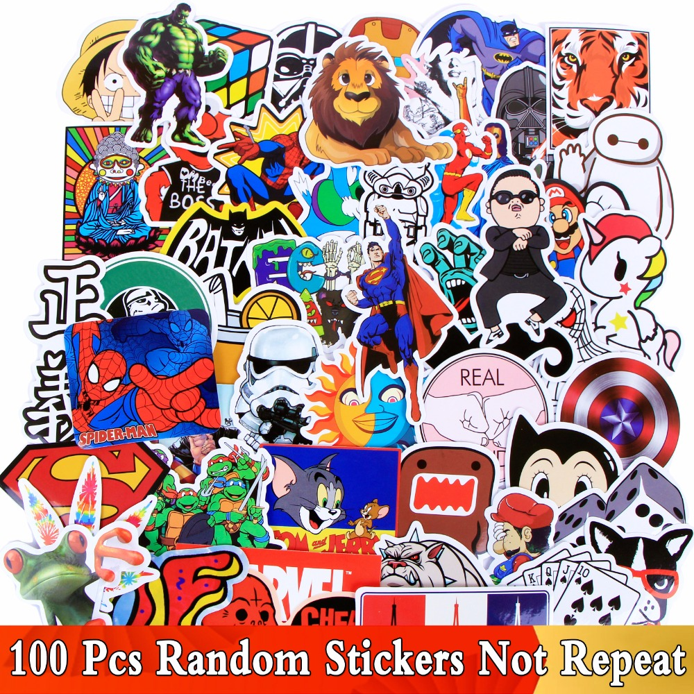 100 PCS Mix Style Colorful Cute Stickers For Home Decor Decal Phone Motorcycle Laptop Graffiti Vinyl Waterproof JDM Toy Sticker dark side light switch sticker cartoon vinyl decal kids room home decor