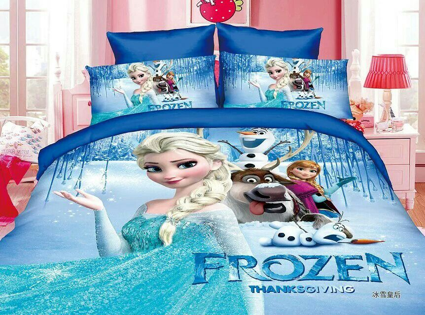 frozen print bedding set 2/3pcs Alsa princess pattern duvet cover single twin size kids adult home decor blue girls bedlinen