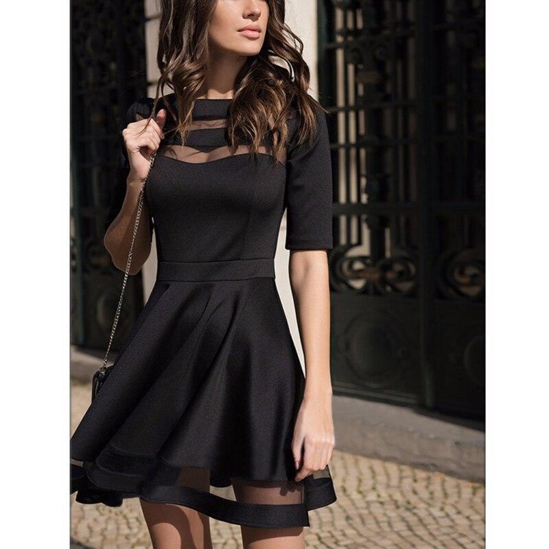 2018 frauen Kleid Frühling Sommer Europäischen Stil Damen Knie Länge Vintage Mesh Sexy Schwarz Party Kleider Vestidos Schwarz Kleid S-XL