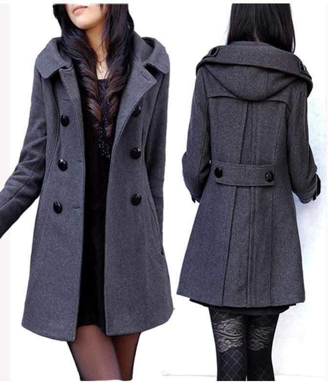 Trench For Women 2018 Plus Size Hot Sale Trendy Women's Wool Blend Winter Noble Long Coat Jacket,hooded Pea Coat S-3xl