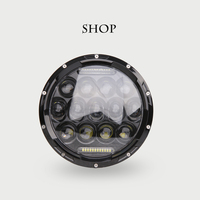 Universal 7 Inch 75W Round Daymaker LED Projector Headlight Bulb For Harley Davidson Motorcycle And LED