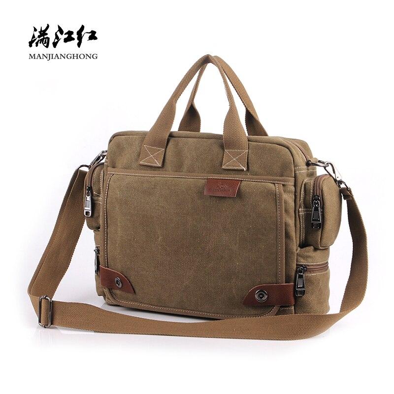 New Vintage Canvas Handbag Shoulder Bag Men Patchwork Leather Messenger Crossbody Bags For Men Casual Briefcase Laptop Bag 1101