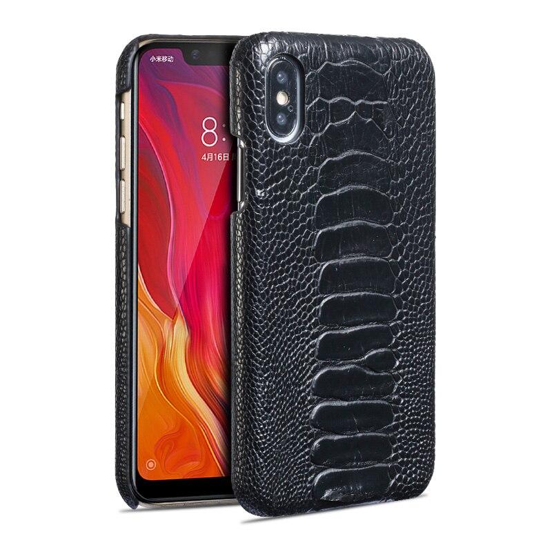 Чехол для телефона из натуральной кожи для xiaomi 8, Стильный чехол для мобильного телефона с отпечатком пальца, защитный чехол для ног страуса - 5