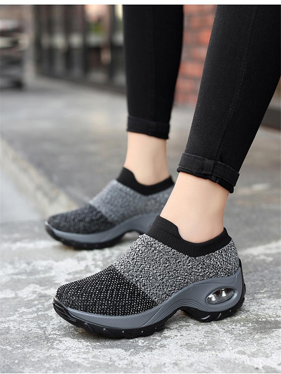 mulheres sapatos planos deslizamento na plataforma tênis