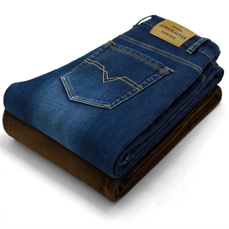 AIRGRACIAS 2018 新しい男性暖かいジーンズ高品質有名なブランドの秋冬ジーンズ厚みフリース男性ジーンズ長ズボン 28 -42