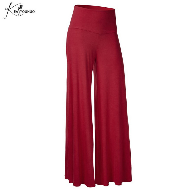 2019 Summer Winter Capris Palazzo   Pants   For Women   Wide     Leg     Pants   High Waist Trousers Women   Pants   Plus Big Size Pantalon Femme
