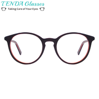 Women Round Vintage Spectacle Frame Small Acetate Retro Eyeglasses For Prescription Myopia Lenses