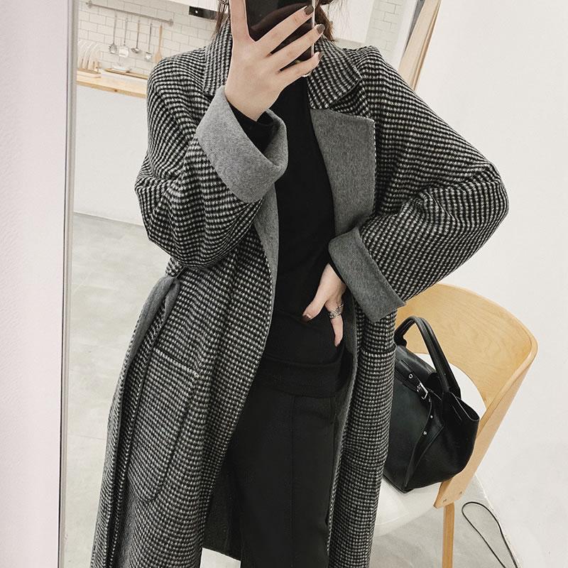Plaid See Casual Turn hg down Manteau 2018 Pleine Long Manches Collar Femmes Corée Mode Rétro De Hiver Dll1272 Tempérament Picture Nouvelles Mélange BRB4Zq6